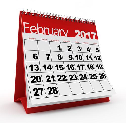 February 2017 monthly desk calendar